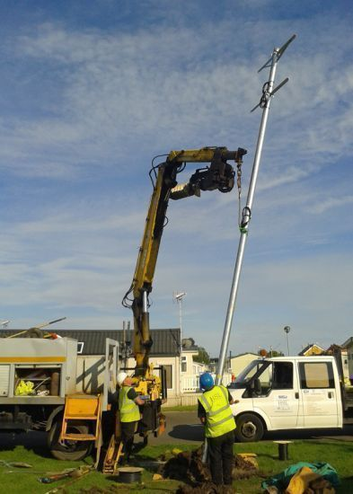 Installation of galvanised pole for Wi-Fi : Swipe To View More Images