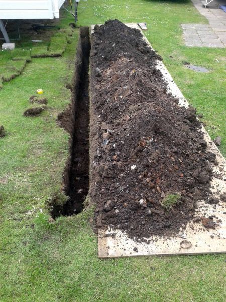 trenchwork for new power cable to caravan: Swipe To View More Images