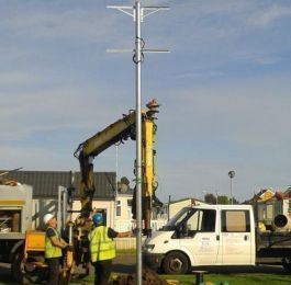 galvanised pole installation for rural broadband: Click Here To View Larger Image