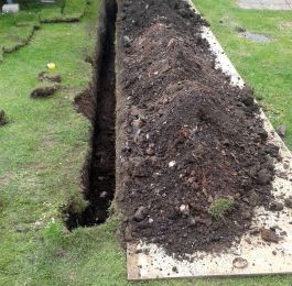 trenchwork for new power cable to caravan: Click Here To View Larger Image